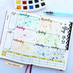 Bullet Journal Layout Ideas: 29 Unbelievably Gorgeous Spreads To Try – The Gorgeous List Bullet Journal Book, Bullet Journal Period Tracker, Planner Bullet Journal, Bullet Journal Washi Tape, Bullet Journal Hacks, Bullet Journal Spread, Bullet Journal Ideas Pages, Bellet Journal, Rainbow Theme