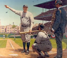 "Debunking the legend of Babe Ruth's ""Called Shot"" in the 1932 Chicago World Series. Baseball Records, Baseball Art, Better Baseball, Baseball Stuff, Baseball Tattoos, Baseball Painting, Sports Painting, My Yankees, New York Yankees Baseball"