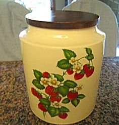 Hyalyn strawberry design cookie jar. For sale at More Than McCoy on TIAS at http//www.morethanmccoy.com