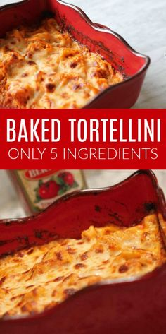 Easy Baked Tortellini with Only 5 Ingredients! This one pan recipe is the perfec… Easy Baked Tortellini with Only 5 Ingredients! This one pan recipe is the perfect back to school dinner ideas for families! It's simple with only a few basic ingredients! One Pan Meals, Easy Meals, Tortellini Bake, Easy Tortellini Recipes, Tortellini Ideas, Plat Simple, Recipes With Few Ingredients, Comfort Food, Chicken