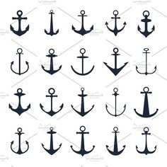 Vector boat anchors isolated on white background for marine tattoo or logo. Set of black silhouette anchos illustration. Archive contains JPG and EPS files. Anker Tattoo Design, Design Tattoo, Tattoo Designs, Anchor Finger Tattoos, Small Anchor Tattoos, Anchor Icon, Anchor Art, Anchor Logo, Marine Tattoo