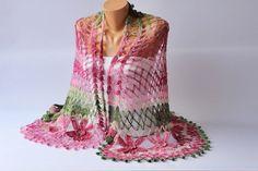 Bridal shawl crochet shawl scarf crocheted  shrug par SenaDesign, $50.00