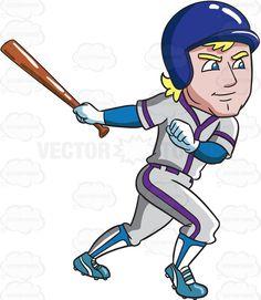 A baseball player gets ready to run after hitting a ball #cartoon #clipart #vector #vectortoons #stockimage #stockart #art