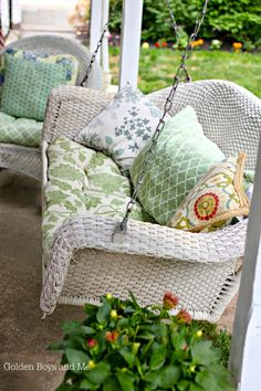 WICKER porch swing | can repurpose a bench/loveseat