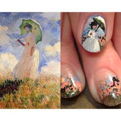 lady with a parasol french impressionism monet design robin moses nail art tutorial found on Polyvore