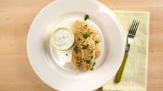 Oven-baked Chicken Fingers with Healthy Ranch Dipping Sauce