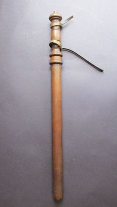 Vintage Mahogany POLICE BATON Billy Club Nightstick Solid Ornate Turned Wood