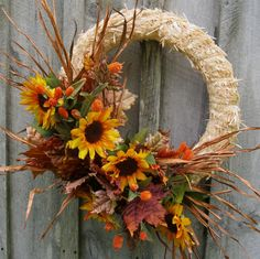 Fall Wreaths Autumn Straw Wreath Sunflowers by NewEnglandWreath, $109.00 (love it!)