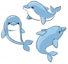 Set Of Cute Dolphins Isolated On A White Background. Cartoon Characters Illustration. Elements For Design.