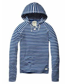 Hooded sweater wih rope closure - Sweaters - Official Scotch & Soda Online Fashion & Apparel Shops