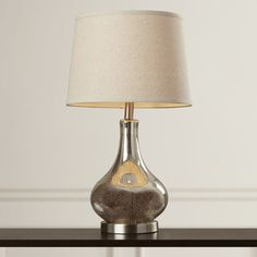 table lamp empire shade 24 H silver glass brushed nickel linen drum beige linen #Contemporary
