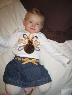 Addie on Turkey Day in the onesie I made her.