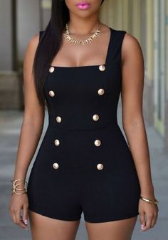 Sexy Square Neck Solid Color Button Embellished Sleeveless Romper For Women