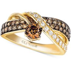 Le Vian Chocolate and White Diamond Crossover Ring in 14k Gold (1-1/4... ($4,300) ❤ liked on Polyvore