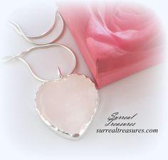 ROSE QUARTZ HEART Necklace Rose Quartz and by SurrealTreasures