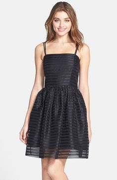 Shoshanna 'Chelsea' Ribbon Stripe Silk Organza Fit & Flare Dress available at #Nordstrom