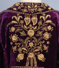 TURKISH VELVET COAT with GOLD EMBROIDERY, LATE 19th-EARLY 20th C.