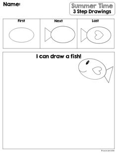 Easy to use worksheets teaching students how to draw simple summer pictures in THREE easy steps! Grade 1 Art, Student Teaching, Summer Pictures, Step By Step Drawing, Summer Colors, Special Education, Booklet, Summer Time, Worksheets