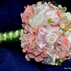 Victorian  Pink Fabric Bouquet | Pink Fabric Rose Bouquet