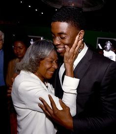 """Rachel Robinson, 90, widow of Jackie Robinson, with actor Chadwick Boseman, 31, at the premiere of """"42,"""" in which he portrays her late, great husband."""