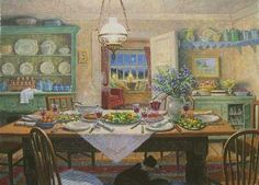 Stephen Darbishire, interior painting, border collie under the dining table.