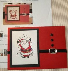 Santa Buckle Christmas Card - I like the use of a pull tab for his belt buckle!  Cute!