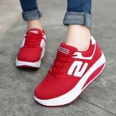 Women's red leather lace up #rocker shoes #sneaker S letter pattern, casual, leisure, sports occasions, mix with pink color, Round toe design.
