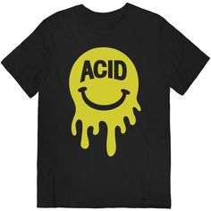 Mr. Acid Face on Black T-shirt UNISEX sizes S M L XL ($24) ❤ liked on Polyvore featuring tops, t-shirts, black top, unisex t shirts, black cotton top, unisex tees and black t shirt