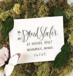 black hand written wedding invitations