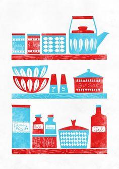 Kitchen art print, Cathrineholm, art for kitchen, Scandinavian poster, Mid… Retro Kitchen Decor, Kitchen Prints, Red Kitchen, Kitchen Interior, Kitchen Colors, Kitchen Artwork, Retro Kitchens, Turquoise Kitchen, 1950s Kitchen