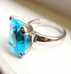 Blue Topaz Ring Sterling Silver Cushion Cut by RenaissanceFair