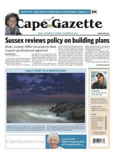 Friday, December 27, 2013 news cover of Lewes, Delaware newspaper, Cape Gazette