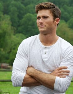 Rising star: Scott is shown in Augusut in North Carolina on the set of The Longest Ride...
