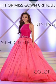 Is Sarah Hamrick, Miss South Carolina's Outstanding Teen kidding me with her impeccable wardrobe? Between her unique interview look and this perfectly chic evening gown, she is styled to perfection. Not only did she place in the top 10, she also took home the Academic Achievement award – beauty AND brains, people!  The Color  Sarah put her own spin on the tremendously popular color blocking trend. Instead of utilizing two different hues, she opted to show the effect with different fabrics…