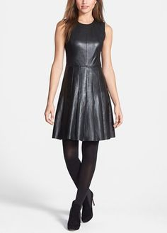 Fall wardrobe staple | Halogen leather and ponte pleat dress