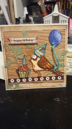 Tim holtz bird crazy and Blueprint stamps..happy birthday card. Made by Deb Stephens