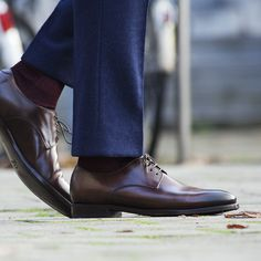 The dark brown Derby design will never go out of style, while the Goodyear welt construction guarantees comfort and durability. http://bit.ly/1sz9yOE