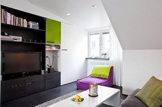 Apartment Design, What Is Interior Design As Purple Sofa And Living Decoration As White Staircase And White Table And Dark Tv Scandinavian A. Attic Apartment, Apartment Design, What Is Interior Design, Scandinavian Apartment, Scandinavian Interiors, White Staircase, Purple Sofa, Open Plan Living, Colorful Decor
