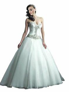 White Sweetheart Neckline Crystals Bodice Ball Wedding Dress
