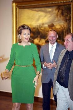 Queen Mathilde of Belgium (L) during a royal visit to the 'Sensation and Sensuality. Rubens and his legacy' exposition on Belgian painter Peter Paul Rubens (1577 - 1640) at the Royal Museums of Fine Arts of Belgium in Brussels, 02.10.2014.