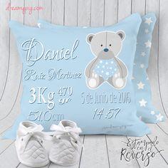 Cojín personalizado nacimiento bebé osito en azul 19 x 19 cm – dreamy pig