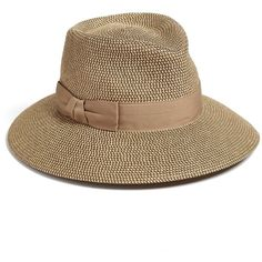 Eric Javits 'Phoenix' Packable Fedora Sun Hat ($250) ❤ liked on Polyvore featuring accessories, hats, wide brim fedora hat, wide brim sun hat, wide brim fedora, band hats and sun blocking hats