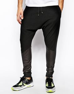 ASOS Drop Crotch Sweatpants With Contrast Panels