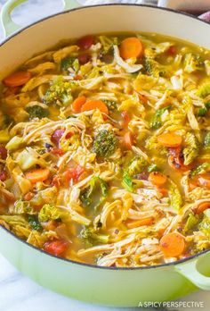 Healthy Meals The Best Southwest Chicken Detox Soup Recipe - Southwest Chicken Detox Soup Recipe - A healthy low-fat, low-carb, gluten-free soup with tons of flavor. This southwest chicken soup packs a punch! Southwest Chicken Soup, Southwest Soup Recipe, Diet Recipes, Cooking Recipes, Cleanse Recipes, Recipies, Cooking Fish, Cooking Games, Weightloss Soup Recipes