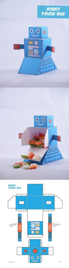 Create your own old school Robot favor box.: