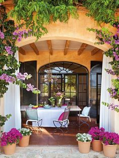 Provençal Holiday Home On Menorca - Patio Outdoor Rooms, Outdoor Dining, Outdoor Gardens, Outdoor Decor, Outdoor Curtains, Patio Dining, Dining Area, Indoor Outdoor, Spanish House