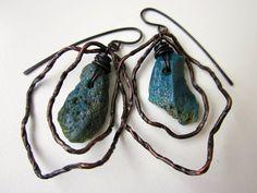 A Chink in History - primitive organic Leland blue slag glass, dark twisted metal root vine soldered oxidized copper hoop metalwork earrings by LoveRoot
