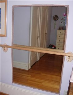 What to do with those plate glass mirrors after a bathroom renovation? If you're lucky to remove without having to break them into a million shards, why not consider reusing these mirrors in a creative, new way. Try hanging them vertically, instead of horizontally, add a ballet bar, and you have a wonderful addition to a little girl's room.