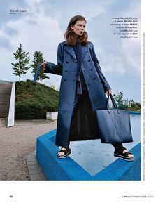 ALESYA ORLÓVA / GEO Shopper blue / GEO COLLECTION / LUFTHANSA WOMAN'S WORLD / layout, minimal, accessory, handbag, simplicity
