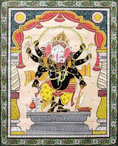 Eight Handed Black Ganesha (Orissa Paata Painting on Tussar Silk - Unframed))